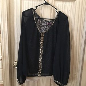 Sheer black and leopard rock and roll cowgirl top